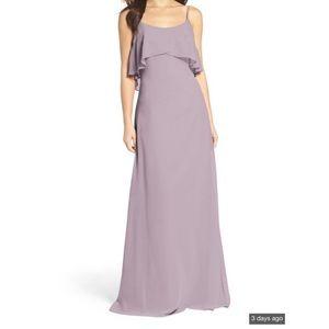 WTOO ruffle overlay chiffon gown NWT